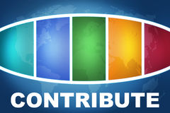 Contribute. Text illustration concept on blue background with colorful world map Royalty Free Stock Image