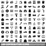 100 contribution icons set, simple style. 100 contribution icons set in simple style for any design vector illustration Stock Image