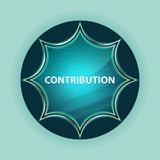 Contribution magical glassy sunburst blue button sky blue background. Contribution Isolated on magical glassy sunburst blue button sky blue background stock illustration
