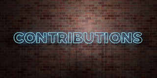 CONTRIBUTIONS - fluorescent Neon tube Sign on brickwork - Front view - 3D rendered royalty free stock picture Stock Photos