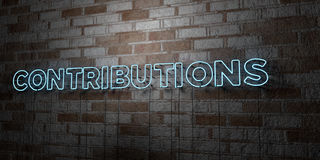 CONTRIBUTIONS - Glowing Neon Sign on stonework wall - 3D rendered royalty free stock illustration Stock Photo