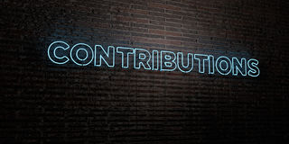 CONTRIBUTIONS -Realistic Neon Sign on Brick Wall background - 3D rendered royalty free stock image Royalty Free Stock Images