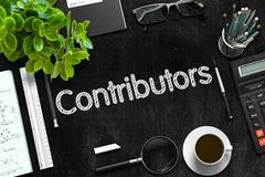 Black Chalkboard with Contributors Concept. 3D Rendering. royalty free stock images