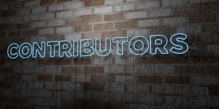 CONTRIBUTORS - Glowing Neon Sign on stonework wall - 3D rendered royalty free stock illustration Royalty Free Stock Images