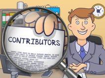 Contributors through Magnifier. Doodle Design. Royalty Free Stock Photos