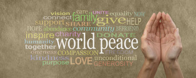 Contribuya a la bandera de la campaña de la paz de mundo Imagen de archivo