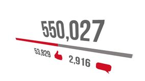Contro aumentare di web sociale con l'indicatore di stato Aumentando a 1 milione viste illustrazione di stock