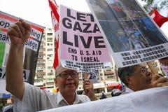 Contro azione israeliana a Gaza Fotografia Stock Libera da Diritti