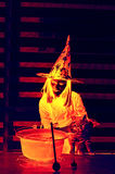 contro i blocchi Halloween completo ha frequentato la scena della zucca della luna della casa Fotografie Stock
