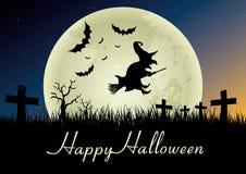 contro i blocchi Halloween completo ha frequentato la scena della zucca della luna della casa Immagine Stock