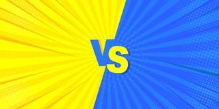Contro il combattimento del fondo comico Idea mega per i fumetti, nel retro stile Illustrazione di vettore di giallo e di blu illustrazione di stock