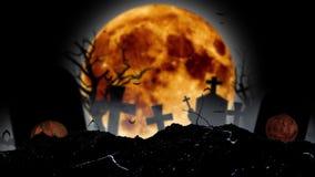Contro il contesto di una luna, i pipistrelli volano, ci sono incroci e zucche di Halloween Fondo fumoso nero royalty illustrazione gratis