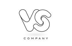 CONTRO il contorno del profilo di Logo With Thin Black Monogram della lettera del monogramma Immagine Stock Libera da Diritti