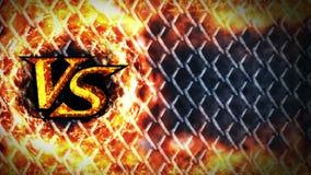 Contro l'animazione di lotta sul fondo metallico del recinto di filo metallico CONTRO sul fuoco della scintilla Gli sport combatt royalty illustrazione gratis