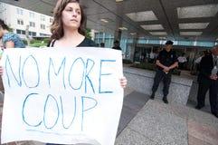 contro la protesta dell'Honduras di colpo Fotografia Stock