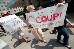 contro la protesta dell'Honduras di colpo Immagine Stock Libera da Diritti