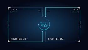 Contro progettazione di schermo Annuncio dell'due combattenti Neon futuristico blu CONTRO le lettere royalty illustrazione gratis