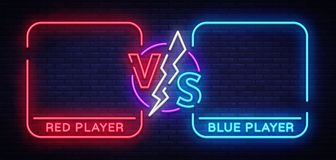Contro progettazione di schermo nello stile al neon Un annuncio al neon dell'insegna di due combattenti Neon futuristico blu CONT illustrazione vettoriale