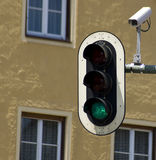 Control. Surveillance camera on traffic light Royalty Free Stock Images