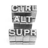 Control alt supr sign, antique metal letter type Royalty Free Stock Photos
