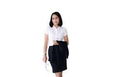Control asiático de la mujer de negocios vidrios y un traje negro con p simple Foto de archivo