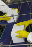 Control at automatic production line in factory stock photography
