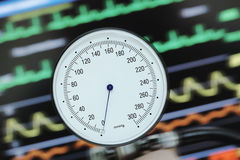 Control of blood pressure on the heart monitoring Stock Image