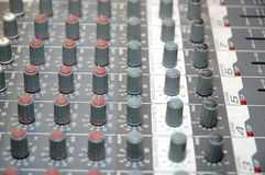 Control board sound mixer. Details of the control board sound mixer Stock Image