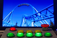 Control box with roller coaster background Royalty Free Stock Image