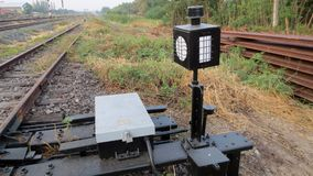 Control box and traffic light signal. On railway Royalty Free Stock Photos
