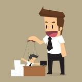 Control Businessman puppet. String and authority. Vector royalty free illustration