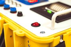 The buttons on the industrial equipments. Control buttons on industrial equipments Stock Photo