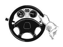 Control of the car. hand on car steering wheel. Hand drawn sketch of steering wheel. vector illustration royalty free illustration