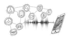 Control casero elegante auxiliar de la voz Internet del concepto de la tecnología de la innovación del icono de las cosas Red ina stock de ilustración