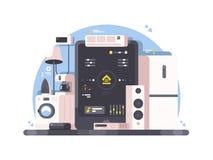 Control casero elegante usando la tableta stock de ilustración