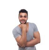 Control casual Chin Smiling Young Handsome Guy de la mano del hombre Fotos de archivo libres de regalías