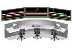 Control center. With scheme in tree monitor Royalty Free Stock Image