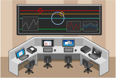 Control center. Control panel with video wall Royalty Free Stock Photo