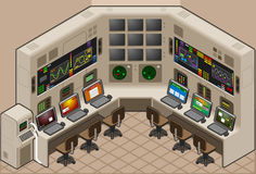 Control center. An isometric Control Panel with video wall Royalty Free Stock Image