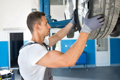 Control, cheking and changing a wheel on a car Stock Image