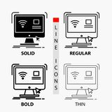 Control, computer, monitor, remote, smart Icon in Thin, Regular, Bold Line and Glyph Style. Vector illustration royalty free illustration