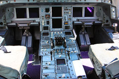Control console in the airplane Stock Image