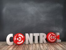 CONTROL 3D Word with Target on Chalkboard Background. High Quality 3D Rendering stock illustration