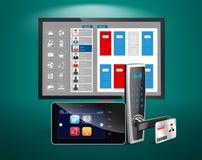 Control de acceso y sistema de gestión stock de ilustración