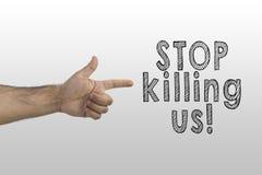 Control de armas, violencia de la policía contra concepto afroamericano Finger que señala al texto: Pare el matar de nosotros fotografía de archivo