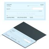 Control de banco con diseño moderno Ejemplo plano Libro de cheque en fondo coloreado Control de banco con la pluma Concepto Imagen de archivo libre de regalías