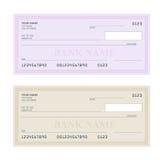 Control de banco con diseño moderno Ejemplo plano Libro de cheque en fondo coloreado Control de banco con la pluma Concepto Fotos de archivo