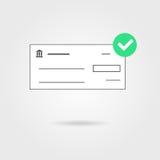 Control de banco con el icono y la sombra verdes de la marca de verificación Imágenes de archivo libres de regalías