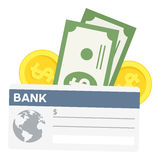 Control de banco y icono plano de los billetes de banco en blanco stock de ilustración