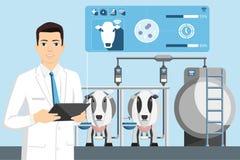 Control de calidad de la leche en una granja lechera imagenes de archivo